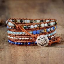 Load image into Gallery viewer, The Natural Lapis Lazuli, Amazonite and Pyrite Handmade Wrap Bracelet - Soul Sound Baths