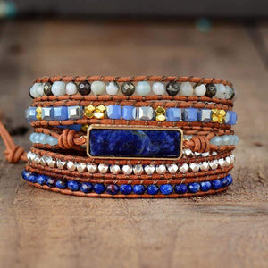 The Natural Lapis Lazuli, Amazonite and Pyrite Handmade Wrap Bracelet - Soul Sound Baths