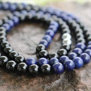 The Natural Lapis Lazuli and Black Onyx Mala Bead Necklace - Soul Sound Baths