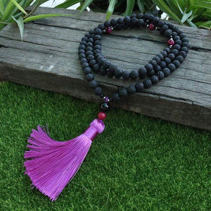 The Natural Lava Stone and Pink Tiger Eye Gemstones 108 Mala Beads Necklace - Soul Sound Baths