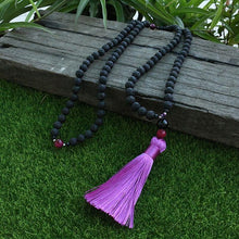 Load image into Gallery viewer, The Natural Lava Stone and Pink Tiger Eye Gemstones 108 Mala Beads Necklace - Soul Sound Baths