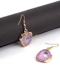 The Natural Pink Agate Gemstone Geode Gold Drop Earrings - Soul Sound Baths