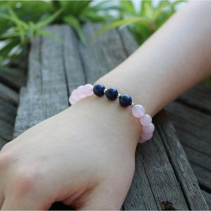 The Natural Rose Quartz and Lapis Lazuli Gemstone Beads Bracelet - Soul Sound Baths