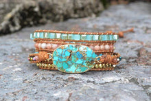 Load image into Gallery viewer, The Natural Turquoise and Amazonite Gemstones Handmade Wrap Bracelet - Soul Sound Baths