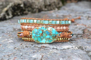 The Natural Turquoise and Amazonite Gemstones Handmade Wrap Bracelet - Soul Sound Baths