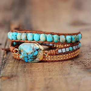 The Natural Turquoise Howlite Gemstone Wrap Bracelet - Soul Sound Baths