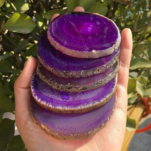 The Purple Agate Geode Coaster Set - Soul Sound Baths