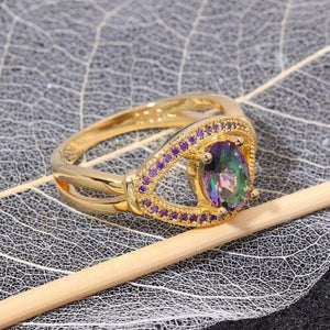 The Rainbow Topaz Gemstone and Assorted Vibrant Crystals Ring - Soul Sound Baths