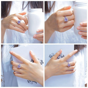 The Square Shaped Amethyst Gemstone Ring - Soul Sound Baths