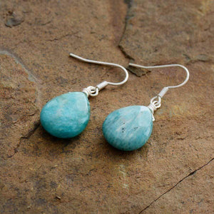The Teardrop Shaped Amazonite Gemstone Earrings - Soul Sound Baths