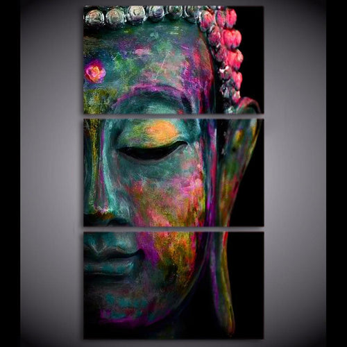The Three Piece Feng Shui Vibrant Buddha Canvas Painting - Soul Sound Baths