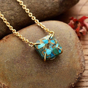 The Turquoise Gemstone Pendant Golden Chain Necklace - Soul Sound Baths