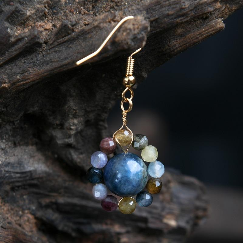 The Vintage Natural Stone Saturn Drop earrings - Soul Sound Baths