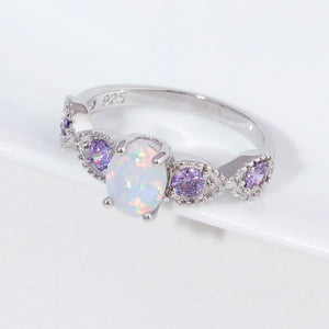 The White Fire Opal and Amethyst Gemstones Ring - Soul Sound Baths