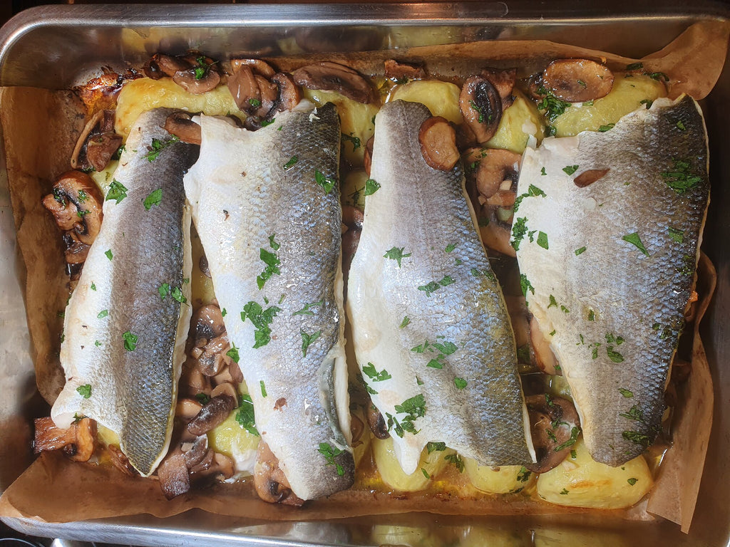"""Forestiere"" fish tray bake with sauce verte"