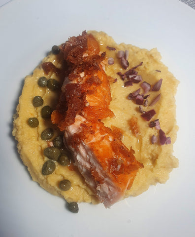 salmon fillet on a bed of Santorini fava puree