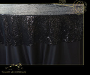Black Sequin Table Cover