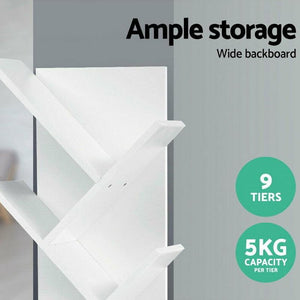 Modern 9 Tier White Bookcase - PuraGlow