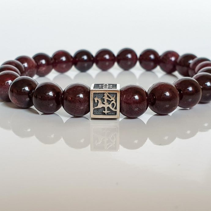 Red Garnet Silver Bracelet for Men - Vytis -