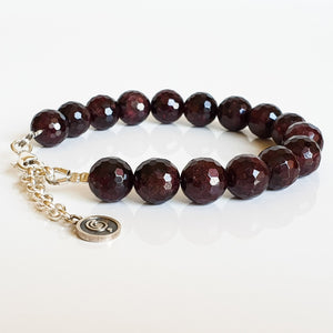 "Red Garnet Silver Bracelet for Women ""Vitality"""