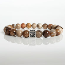 "Load image into Gallery viewer, Petrified Wood Silver Bracelet - Vytis - ""Stability"""
