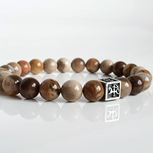 "Petrified Wood Silver Bracelet - Vytis - ""Stability"""