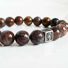 "Load image into Gallery viewer, Pietersite Silver Bracelet for Men ""Tempest Stone"""