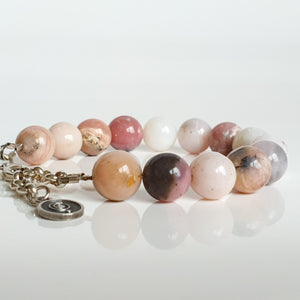 "Pink Opal Silver Bracelet for Women ""Self Love"""