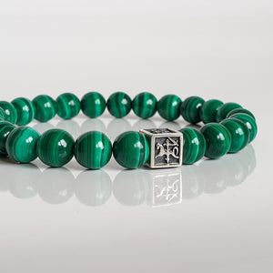 "Malachite A+ Silver Bracelet for Men - Vytis - ""Abundance"""