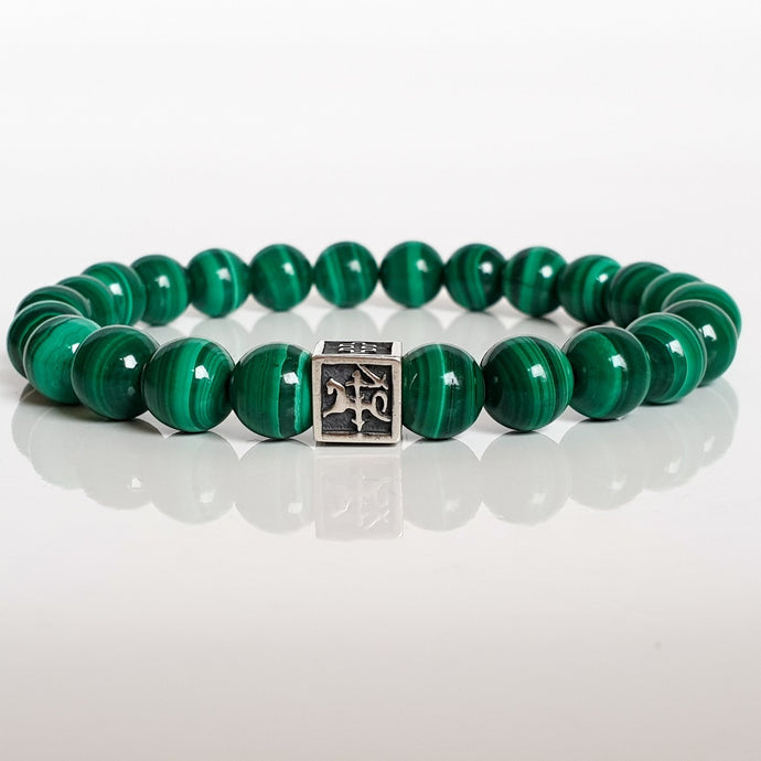 Malachite A+ Silver Bracelet for Men - Vytis -