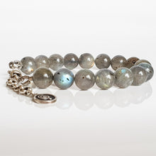 "Load image into Gallery viewer, Labradorite Silver Bracelet for Women ""The Guardian"" - 9 mm"