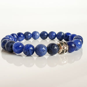 "Sodalite Silver Bracelet for Women ""Calm Mind"""