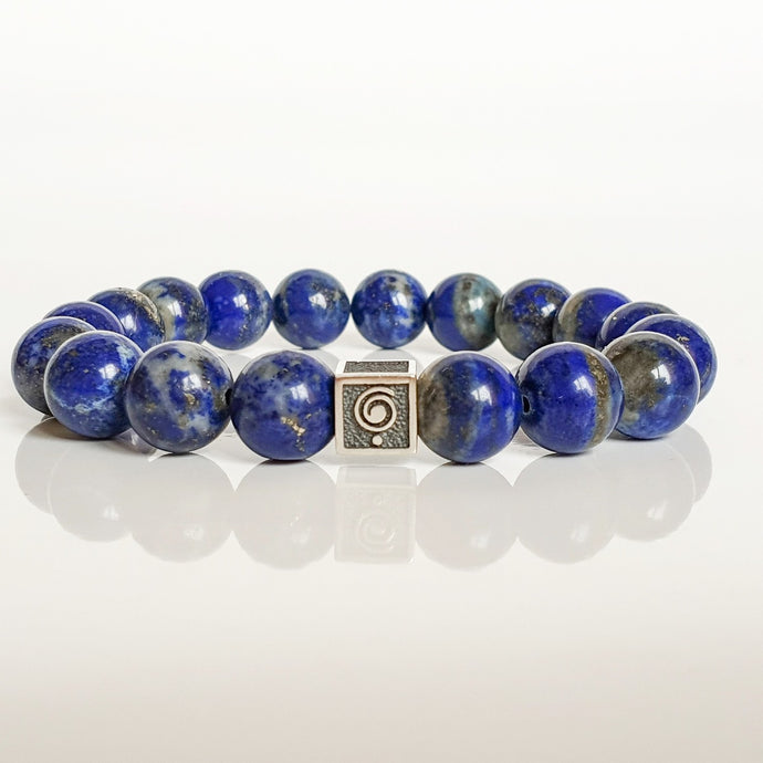 Lazurite Silver Bracelet for Men