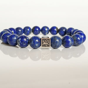 "Lazurite Silver Bracelet for Men - Vytis - ""Wisdom"""