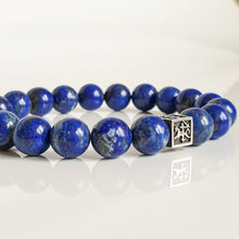"Load image into Gallery viewer, Lazurite Silver Bracelet for Men - Vytis - ""Wisdom"""