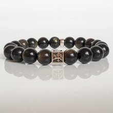 "Load image into Gallery viewer, Obsidian Silver Bracelet for Men ""Inner Strength"""