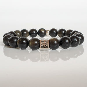 "Obsidian Silver Bracelet for Men ""Inner Strength"""