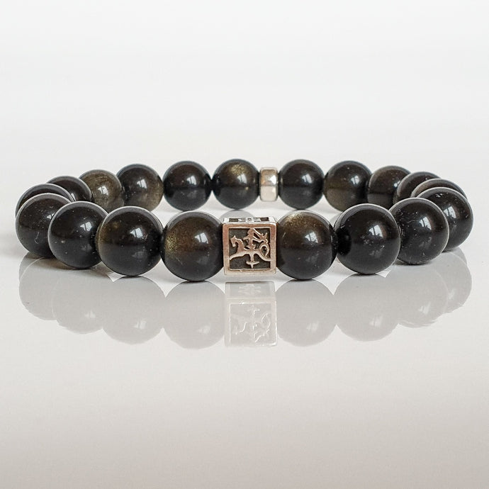 Obsidian Silver Bracelet for Men