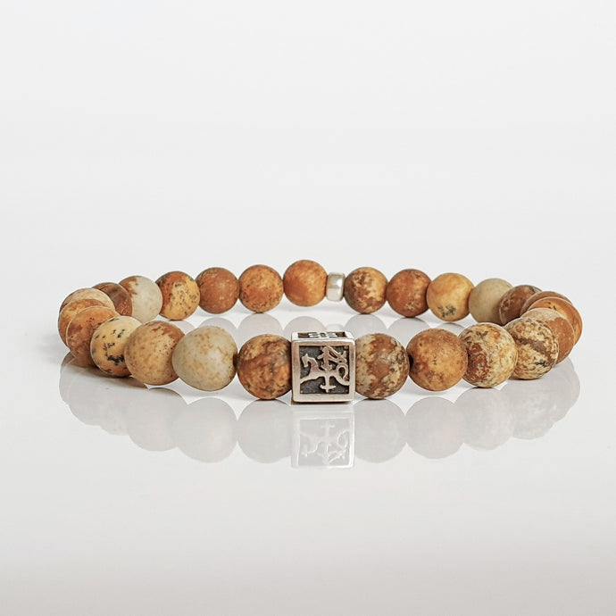 Picture Jasper Silver Bracelet for Men - Vytis -