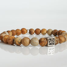 "Load image into Gallery viewer, Picture Jasper Silver Bracelet for Men - Vytis - ""Charged"""