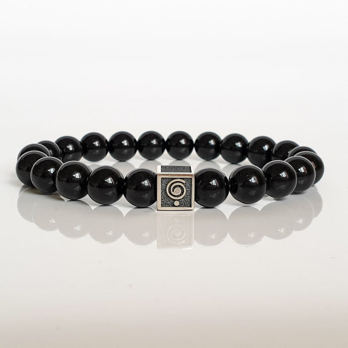 Black Tourmaline Silver Bracelet for Men