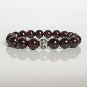"Red Garnet Silver Bracelet for Women ""Vitality"" - 10mm"