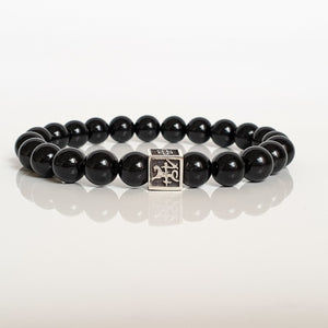 "Black Tourmaline Silver Bracelet for Men - Vytis - ""Harmony"""
