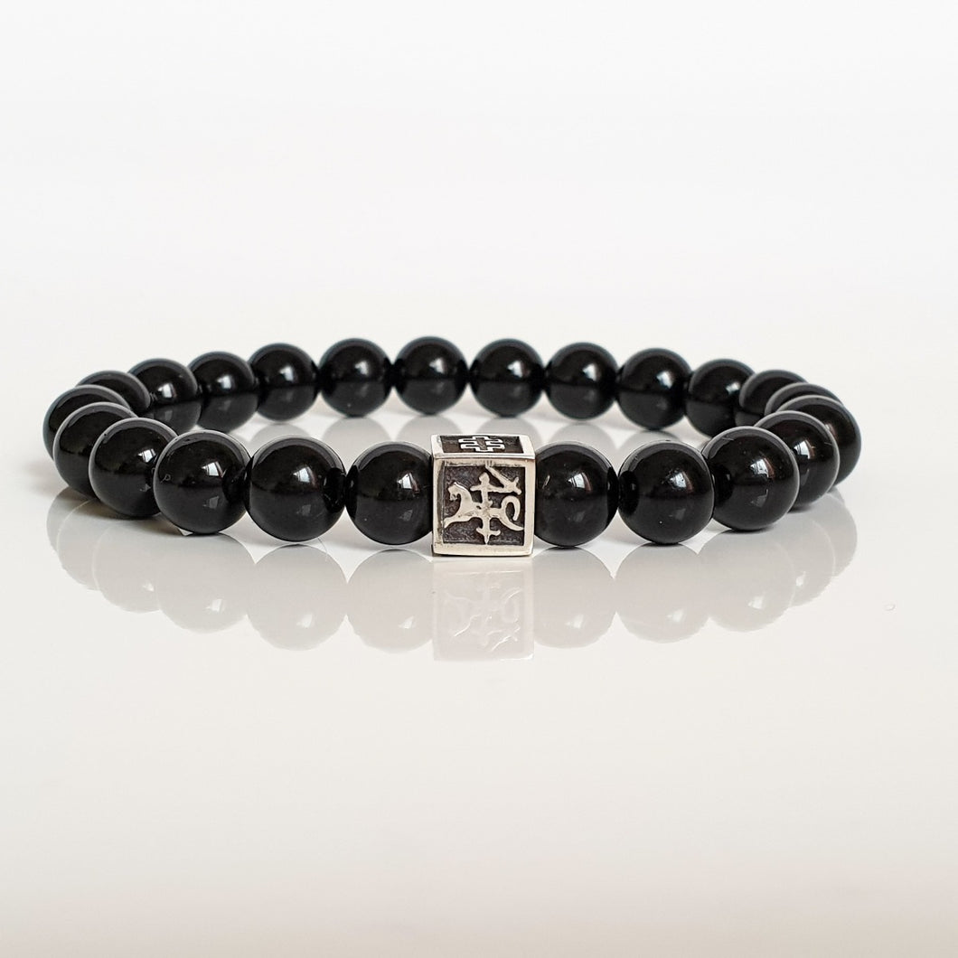 Black Tourmaline Bracelet for Men - Vytis -