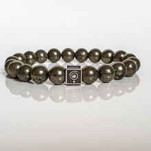 "Load image into Gallery viewer, Pyrite A+ Silver Bracelet for Men ""Positive"""