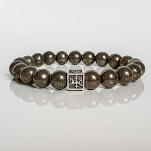 "Pyrite A+ Silver Bracelet for Men - Vytis - ""Positive"""