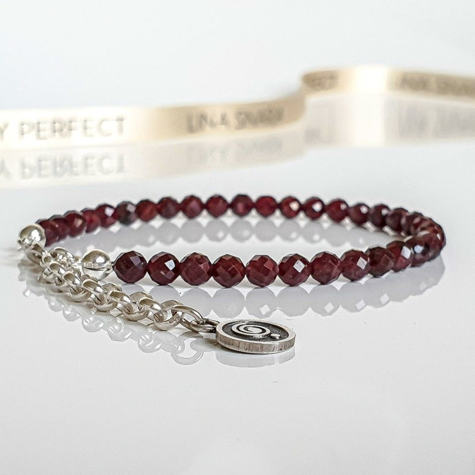 Red Garnet Silver Bracelet for Women