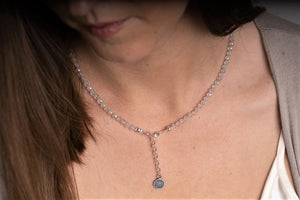 "Set of Mountain Crystal and Topaz Silver Necklace and Bracelet ""Pure"" - Petit Secret"