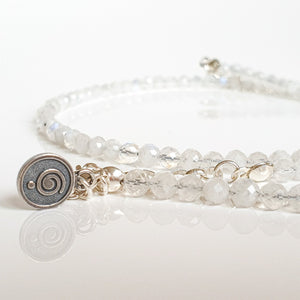 "Set of Moonstone Silver Necklace and Bracelet ""Intuition"" - Petit Secret"