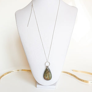 "Golden Purple Labradorite AAAA+ Silver Statement Necklace ""The Guardian"""